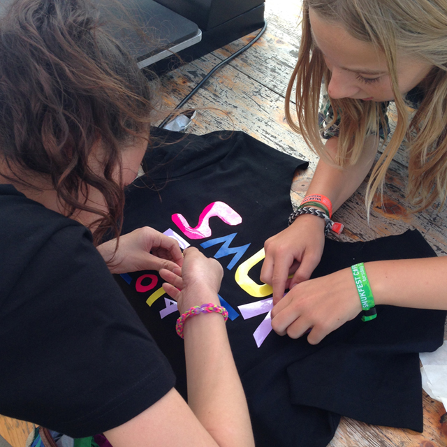 Kids making recycled Tshirts
