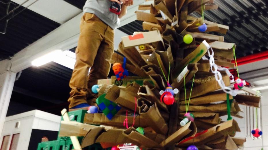 Christmas tree made from cardboard