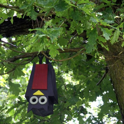 Birdhouse shaped as a bat