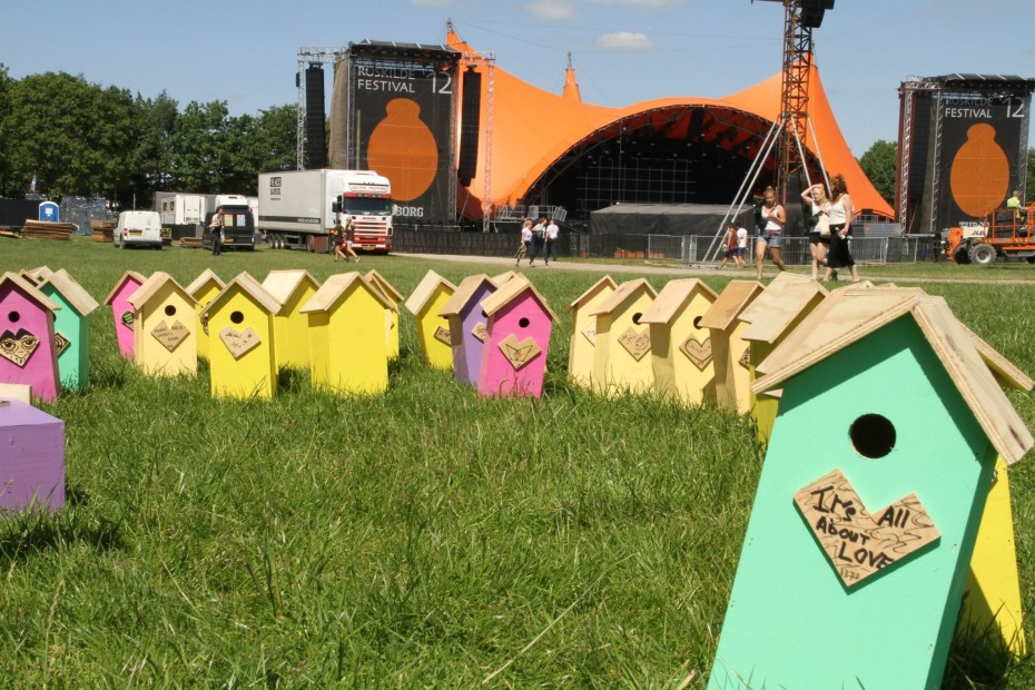 Upcycled birdhouses at Roskilde Festival