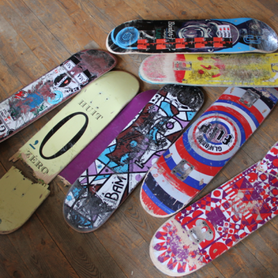 Skate boards to be upcycled to birdhouses