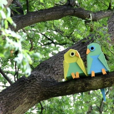 Birdhouses made as love birds