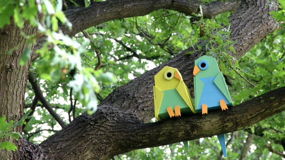 Birdhouses made as love birds