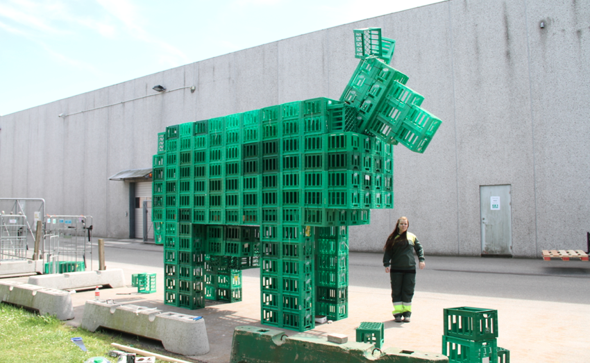 Giant cow made from milk boxes