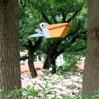 Upcycle pelican birdhouse sculpture