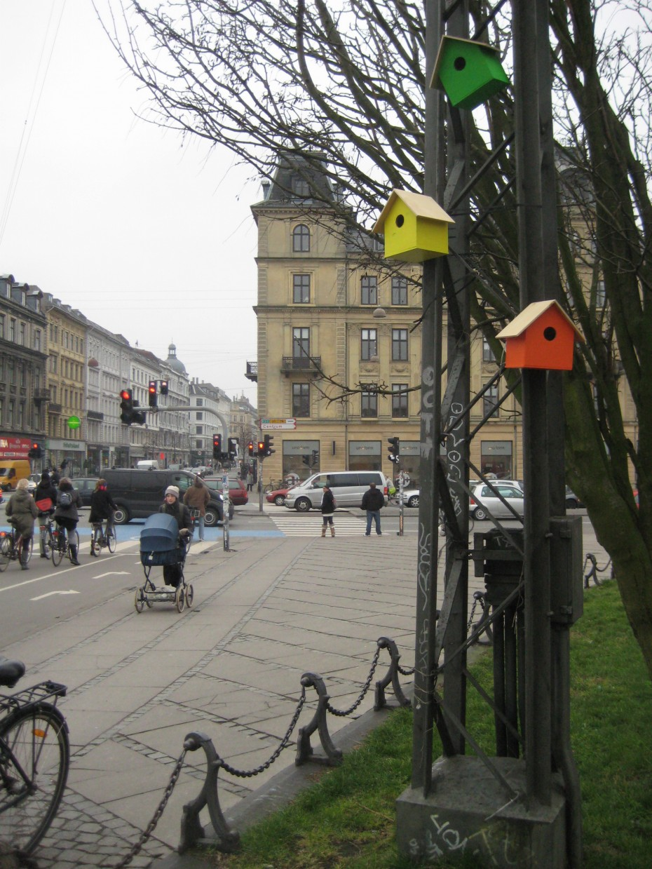 Bird houses on Dronning Louises bridge in Copenhagen
