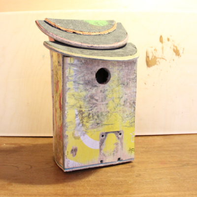 recycled skateboards made into birdhouse