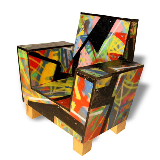 recycled grafitti chair by Thomas Dambo