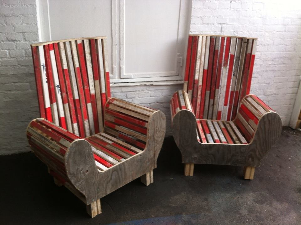 chairs made from red and white scrapwood