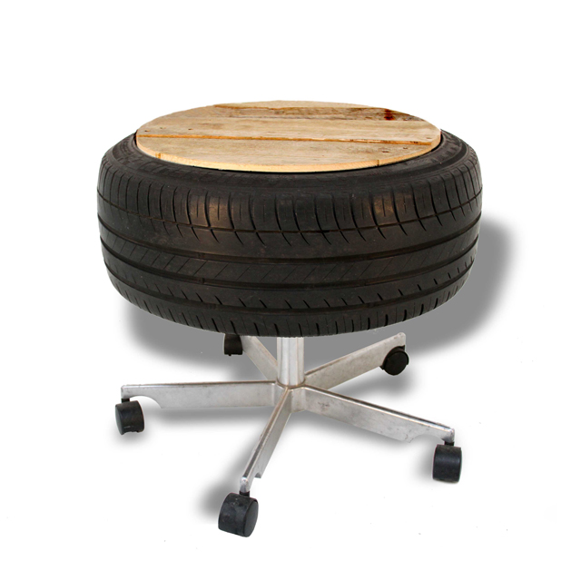 Upcycled tire office chair