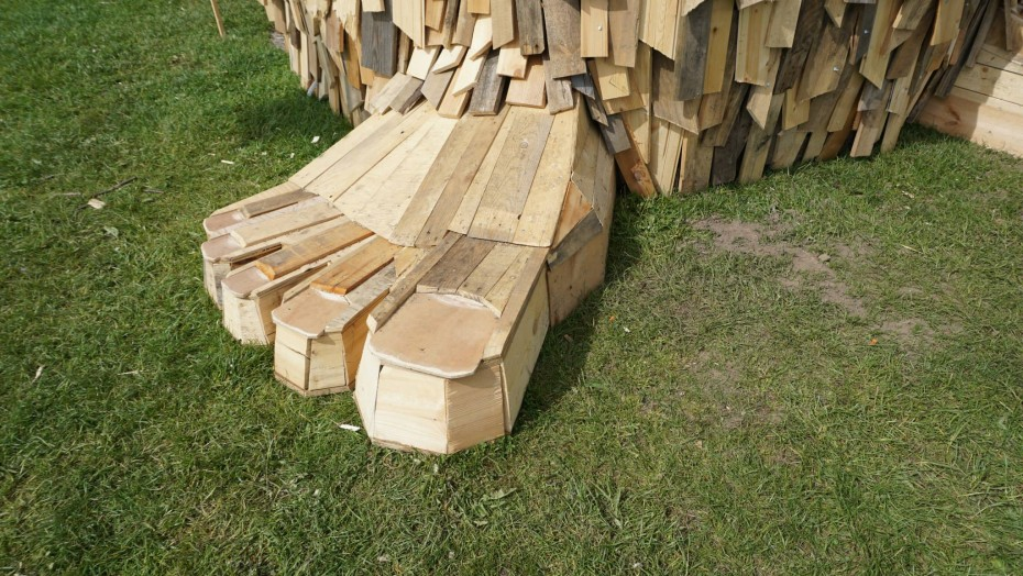 Recycled wood foot for recycled sculpture Troels the troll