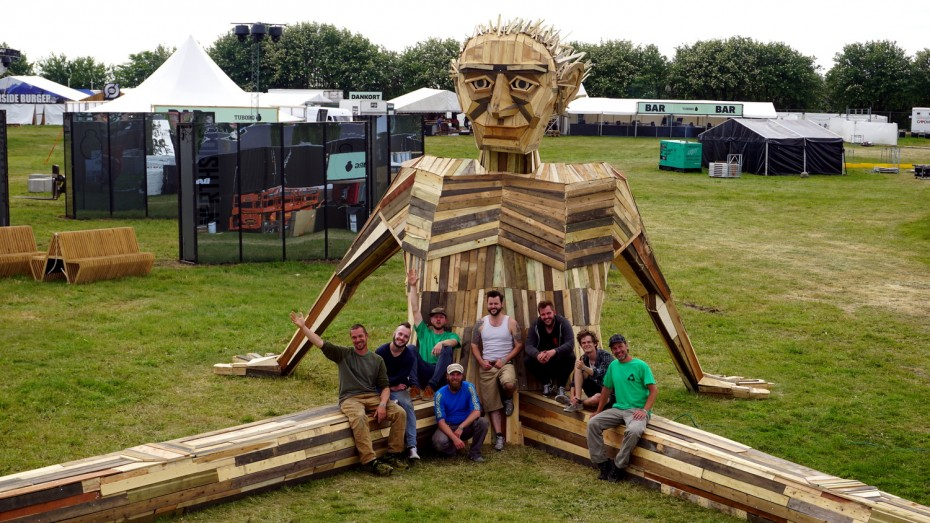 The crew who build recycle sculpture Ben Chiller